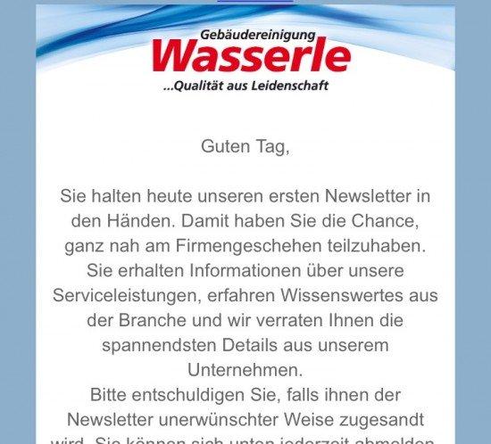 Gebäudereinigung Wasserle München Newsletter